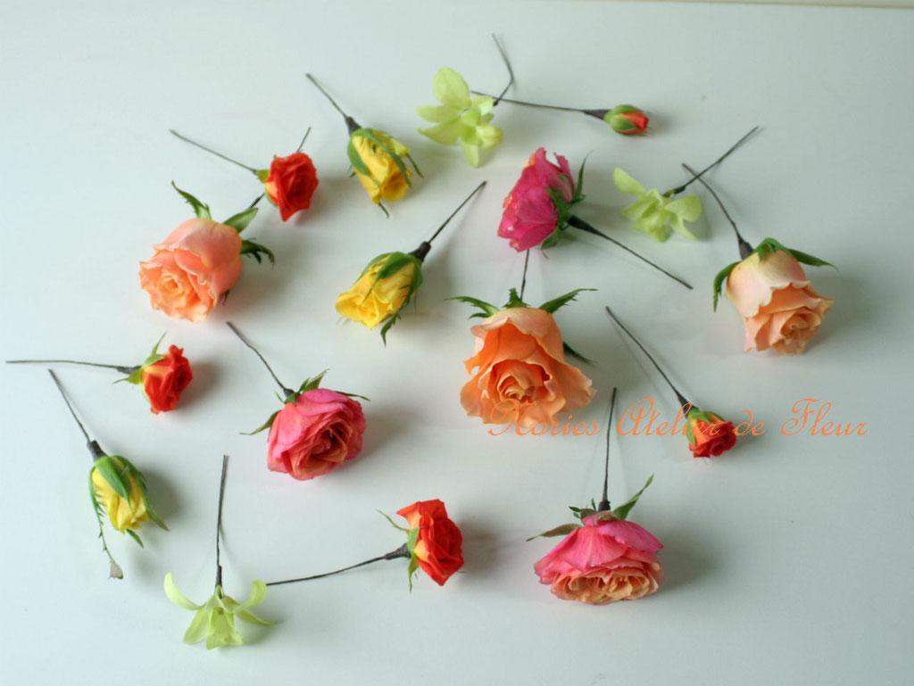 生花のオレンジ、イエロー・グリーンの花材で制作したヘアオーナメント
