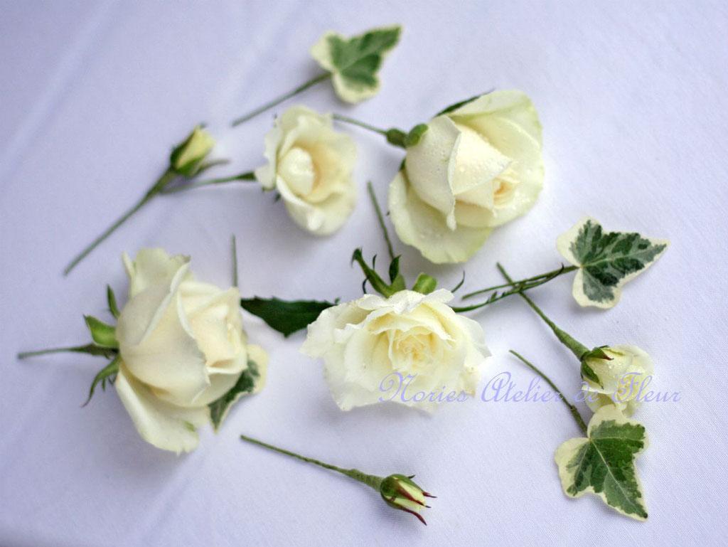お式のための白いバラを使った生花のヘアオーナメント