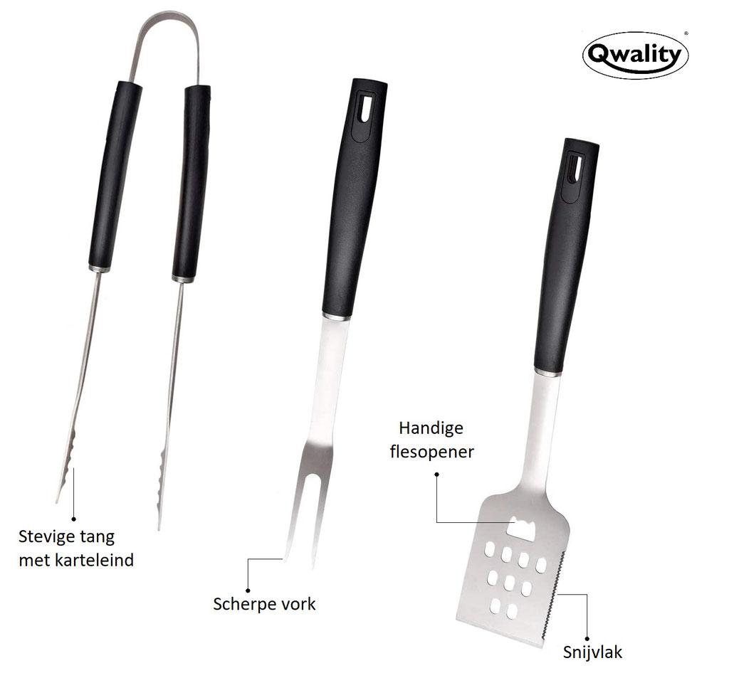 BBQ set - BBQ thermometer - BBQ tools - Barbeque accessoires - Cadeau - Qwality