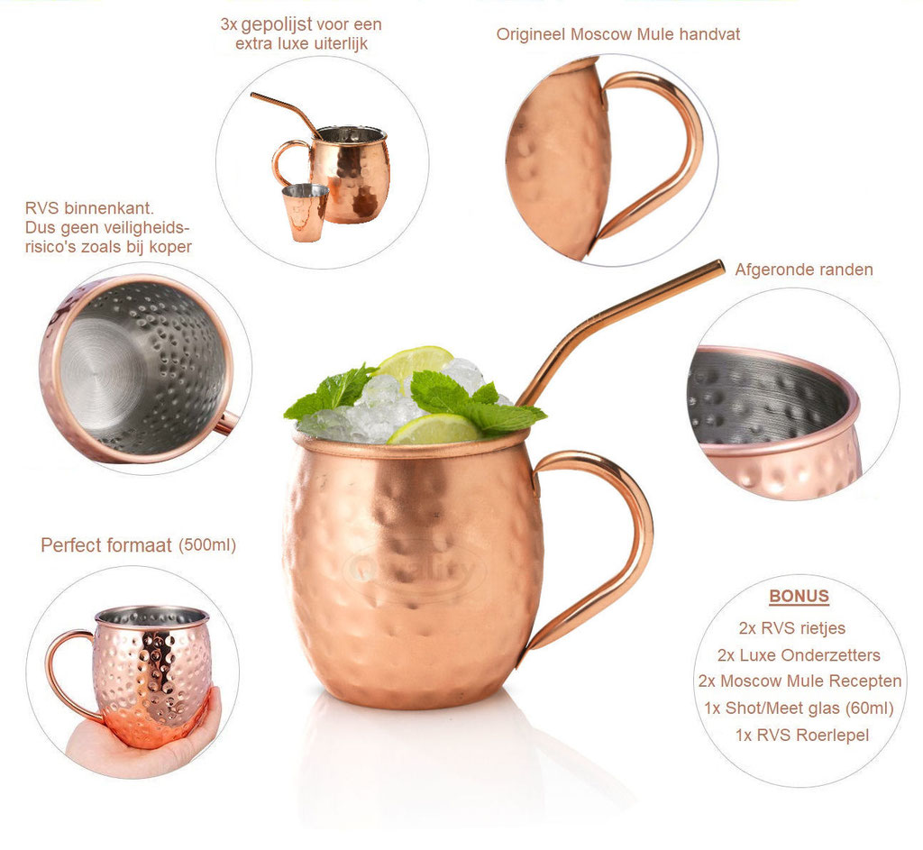 Moscow Mule - Mule Cocktail Bekers - Cocktail set - Nederland Recept Wodka Mix cocktail set beker