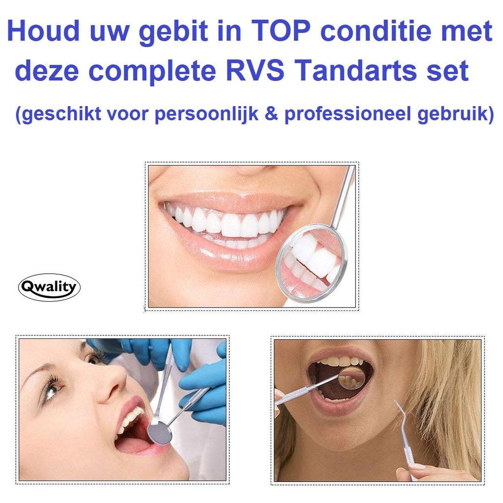 Tandarts setje tandarts gereedschap mondspiegel groot pincet haakjes haken professionele