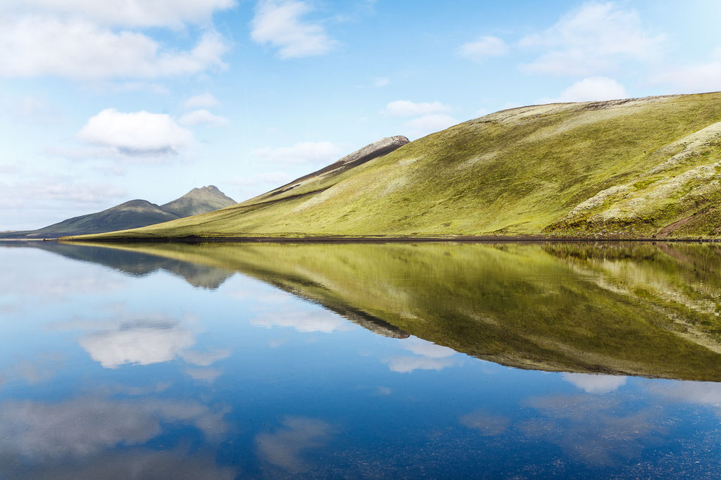 Perfect reflections on a completely calm and silent day at Landmannalaugar, Iceland. You could hear the sound of silence.