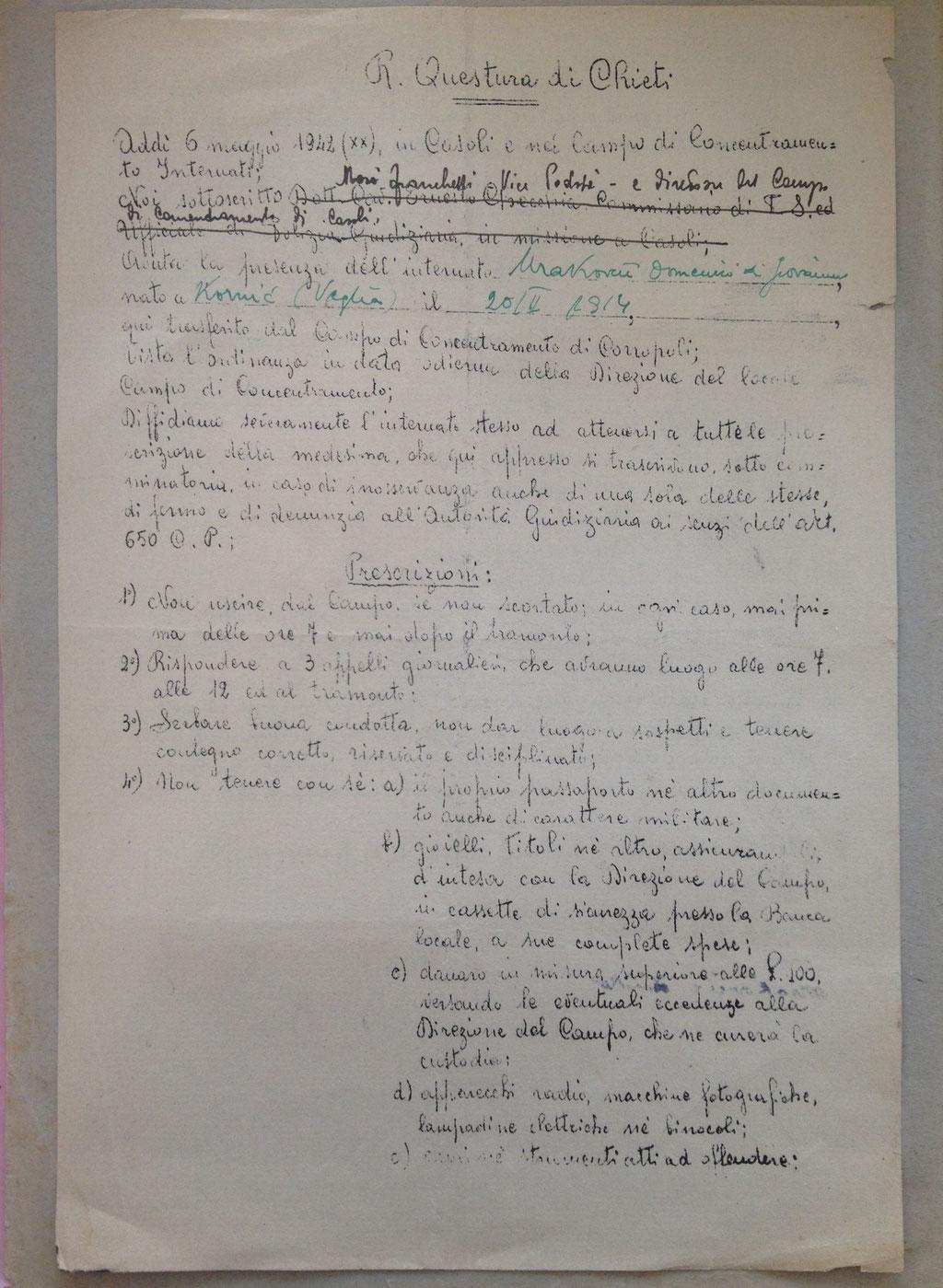 Prescrizione delle regole del Campo di Concentramento di Casoli, foglio 1