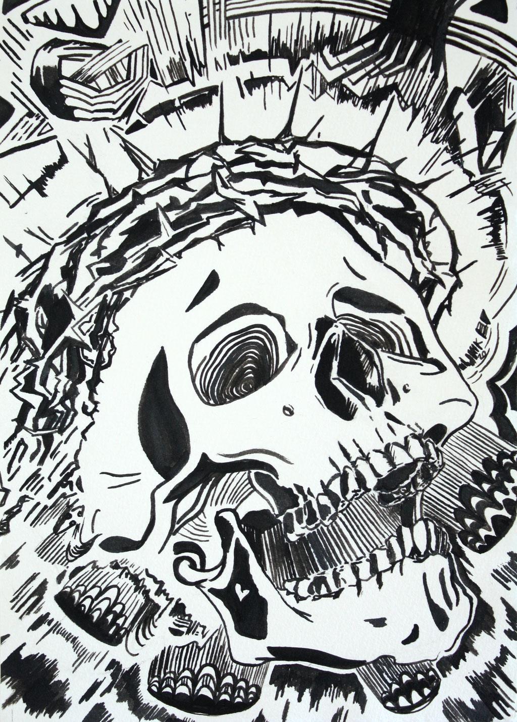 Sacrifice II, 2020, Tusche auf Papier, 17 x 24 cm