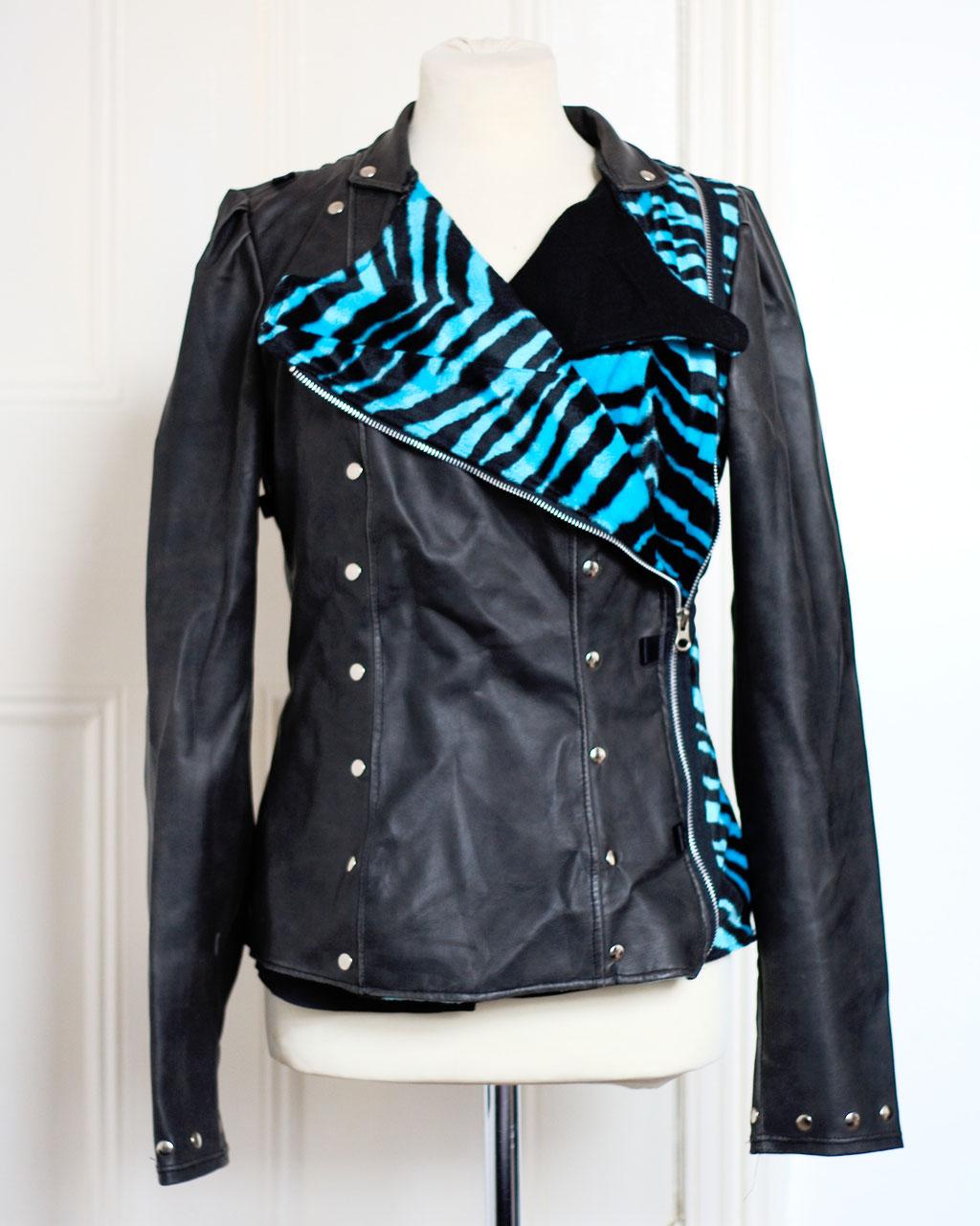 Flohmarkt: Pullis und Jacken - Shitsville Kunstlederjacke Zebra türkis - Zebraspider DIY Anti-Fashion Blog