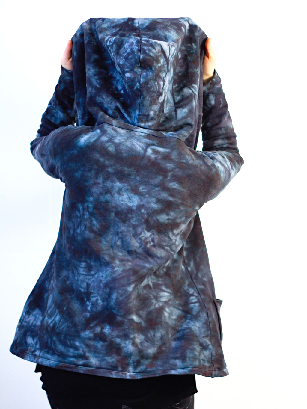 Re-dyed and repaired cardigan - black, purple and blue on the back and hood - Zebraspider DIY Anti-Fashion Blog