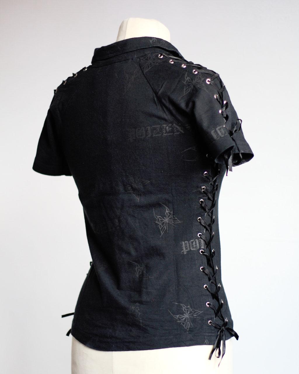 Flohmarkt: Oberteile - Poizen Industries Poloshirt mit Schnürung - Zebraspider DIY Anti-Fashion Blog