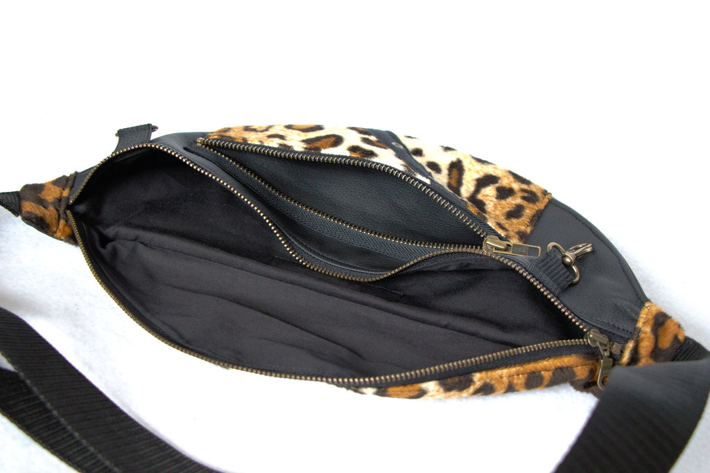 Custom belt bags and summer tops - large leopard + faux leather fanny pack inside - Zebraspider Eco Anti-Fashion