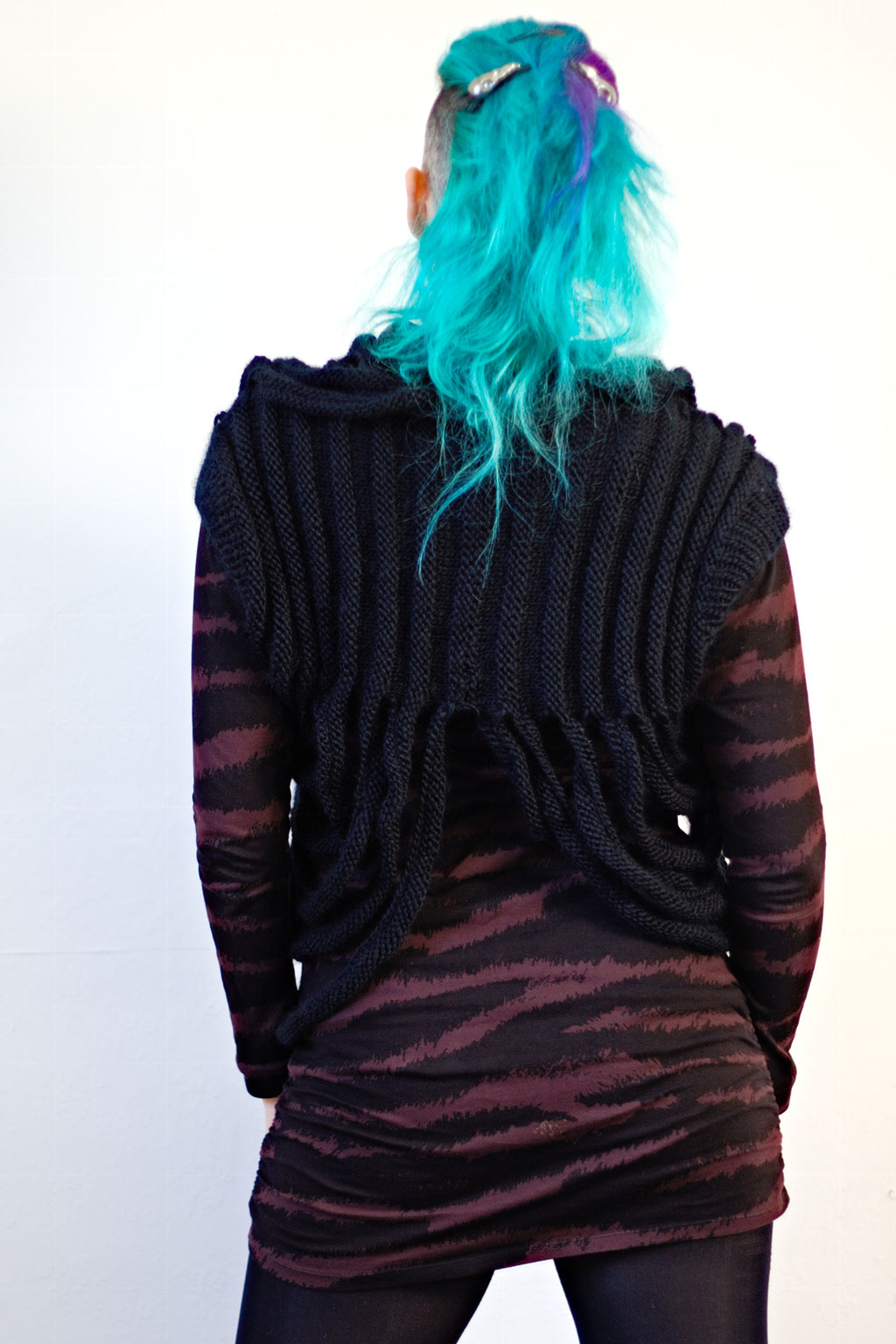 Zombie knitted vest & Crochet crop top of dreams - dystopian knit - Zebraspider Eco Anti-Fashion Blog