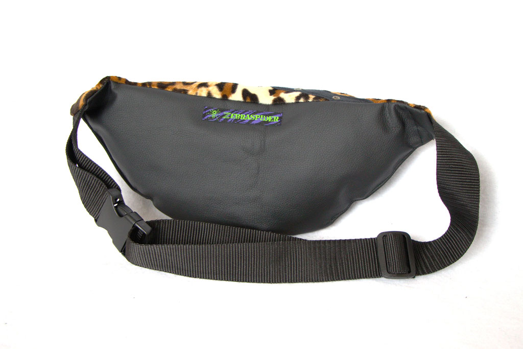 Custom belt bags and summer tops - large leopard + faux leather fanny pack back - Zebraspider Eco Anti-Fashion