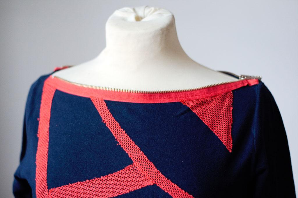 Flohmarkt: Oberteile - DIY Langarm Shirt mit Netz Streifen und Reißverschluss - Zebraspider DIY Anti-Fashion Blog