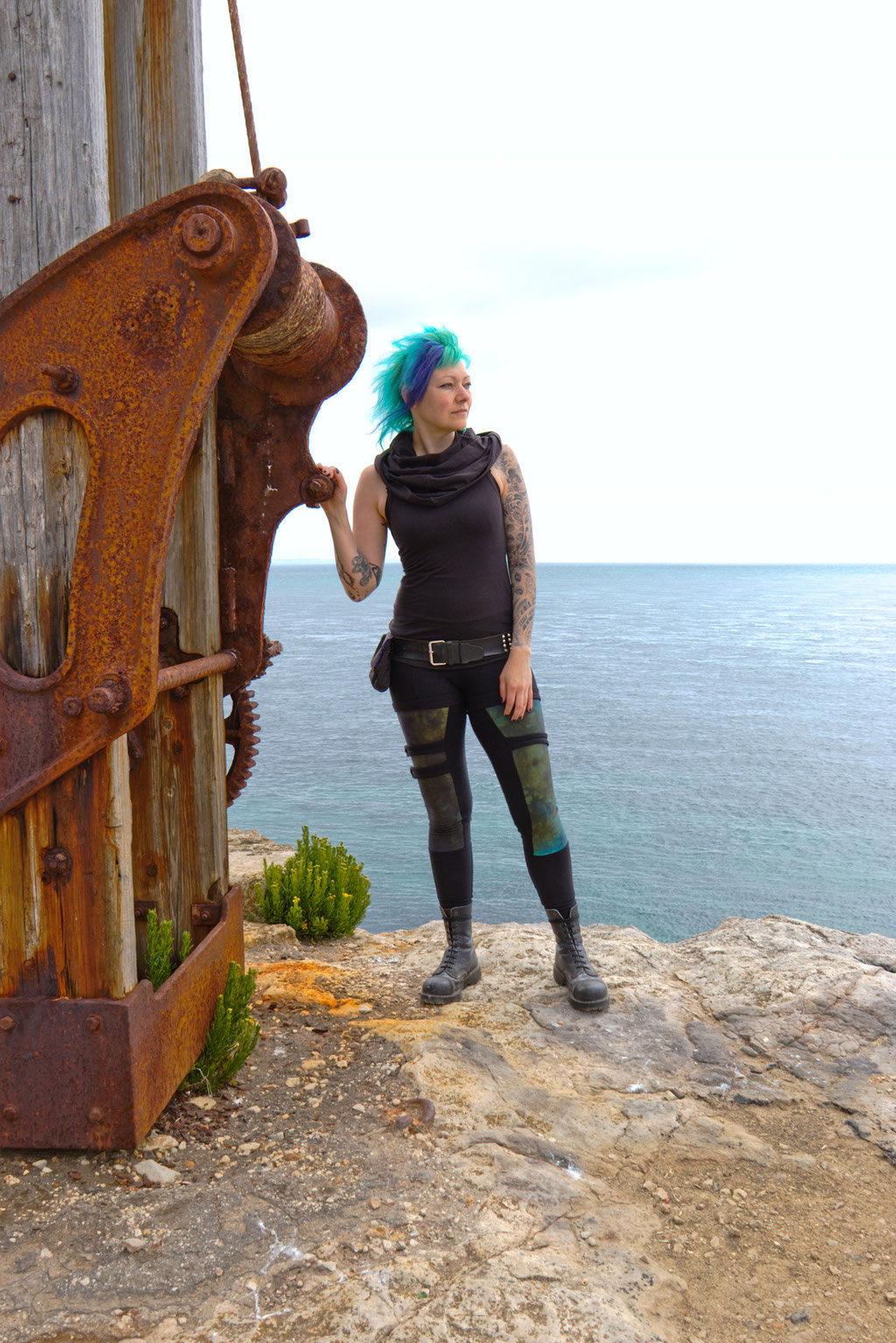 Seafront Quarry Outfit with Spirit of lunar and Crisiswear - blue sea and rusty crane - Zebraspider Eco Anti-Fashion