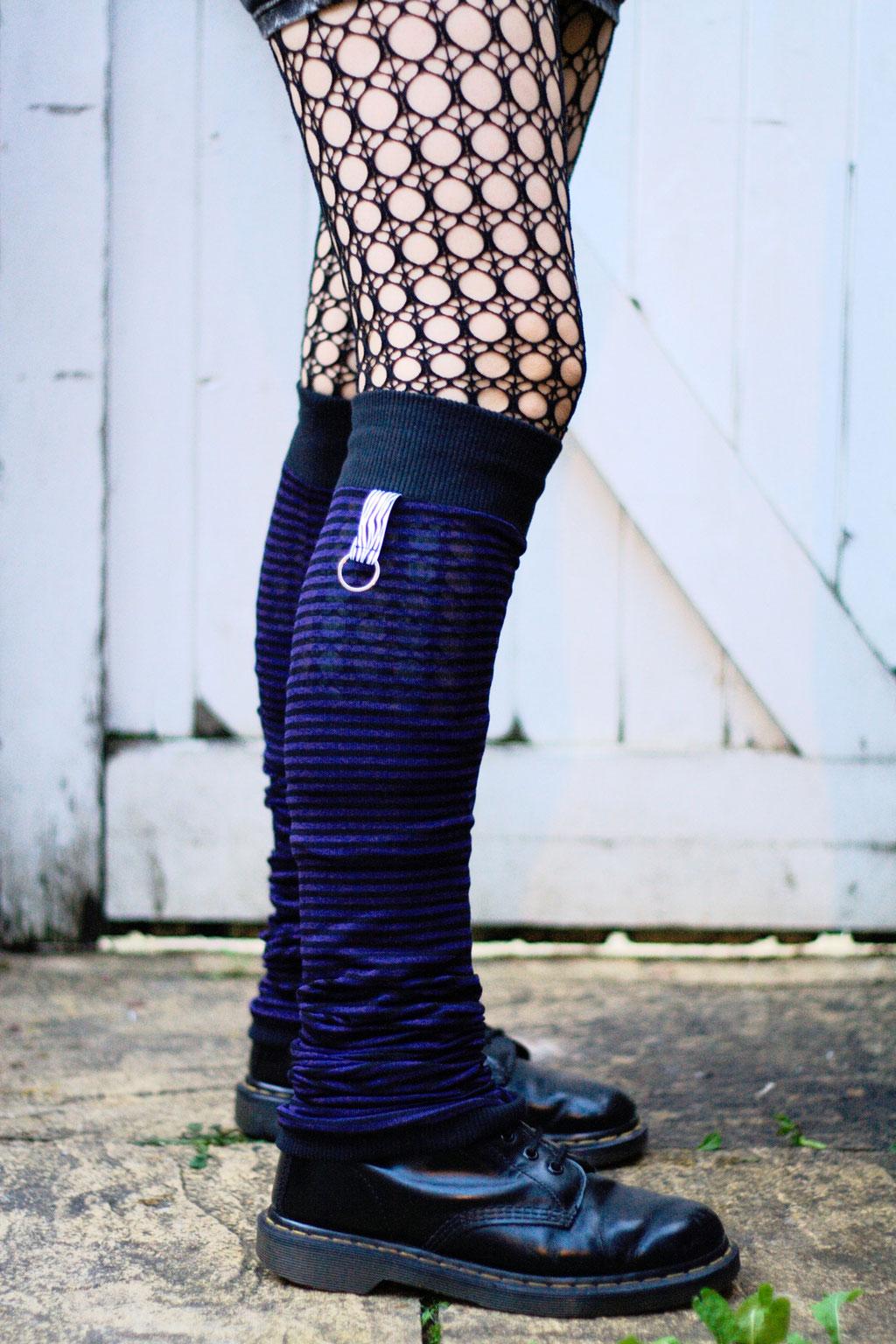 Die neuen Beinstulpen sind da! - Purple Stripes & Zebra - Zebraspider DIY Anti-Fashion Blog