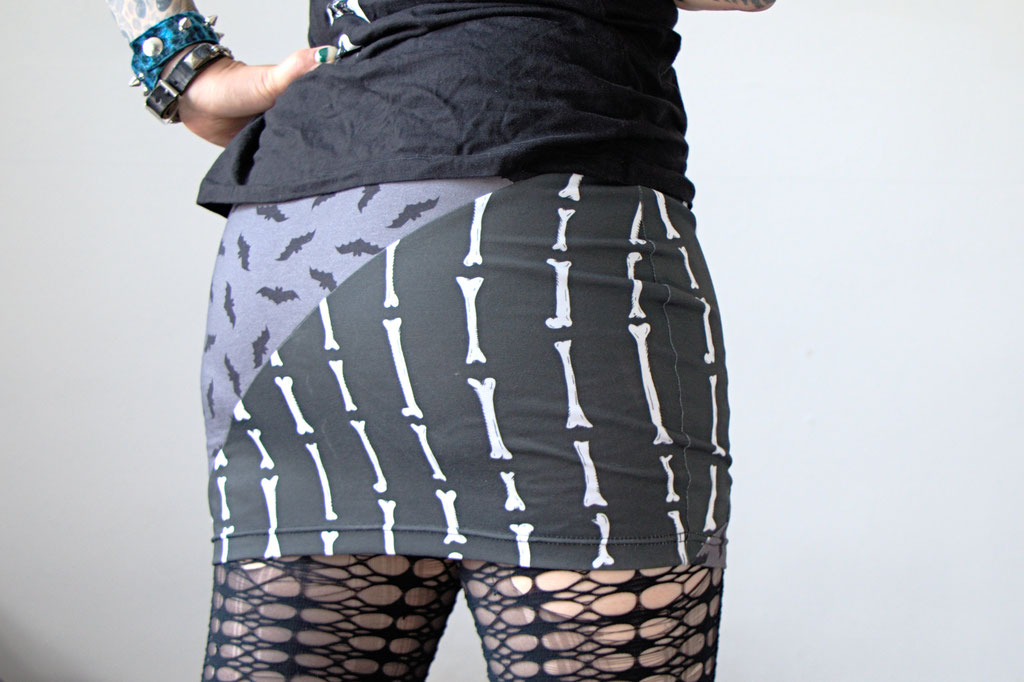 Bats, Bones and Coffins in the shop! - bodycon mini skirt with batcave patterns - Zebraspider Eco Anti-Fashion