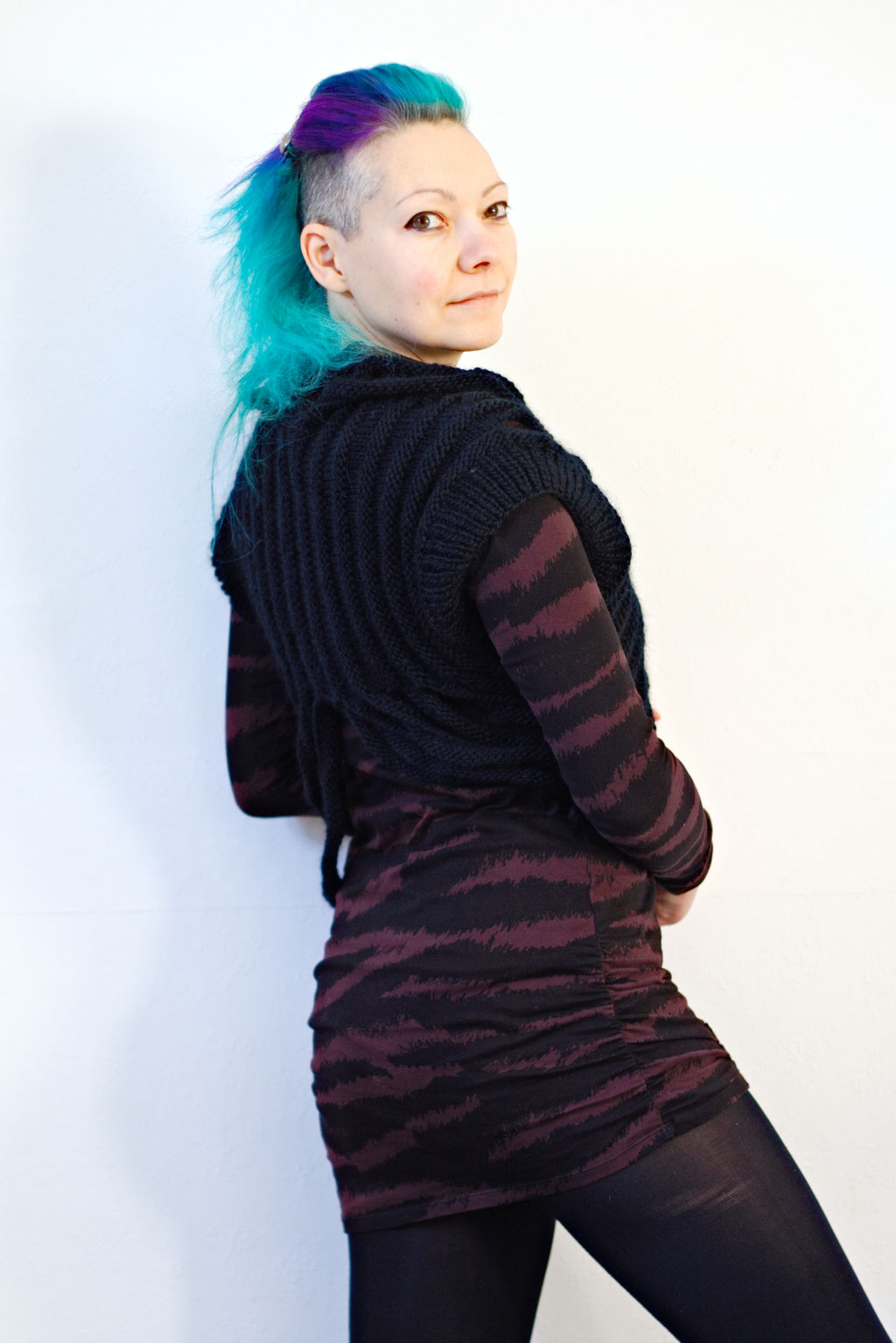 Zombie knitted vest & Crochet crop top of dreams - structured easy knit - Zebraspider Eco Anti-Fashion Blog