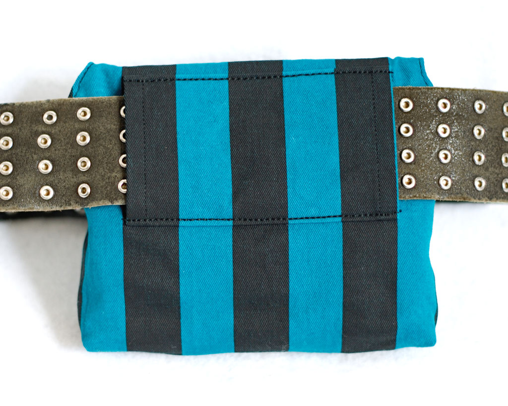 2021 belt bags and new shoulder bags out now! - Teal Stripes & Stars belt pouch - Zebraspider Eco Anti-Fashion