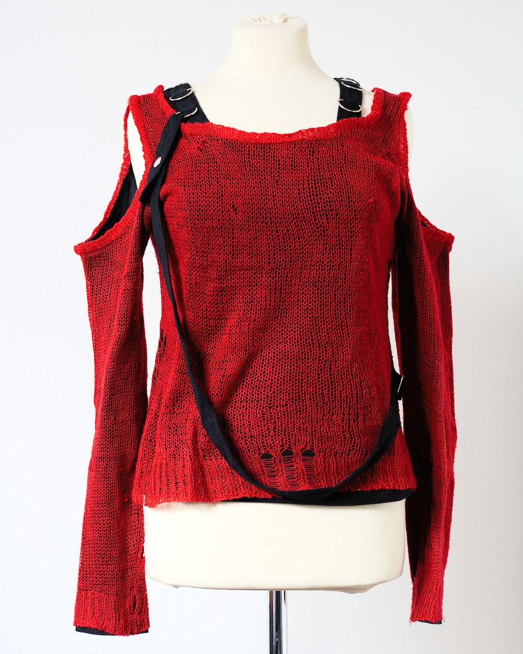 Flohmarkt: Pullis und Jacken - Punk Strick Pullover - Zebraspider DIY Anti-Fashion Blog
