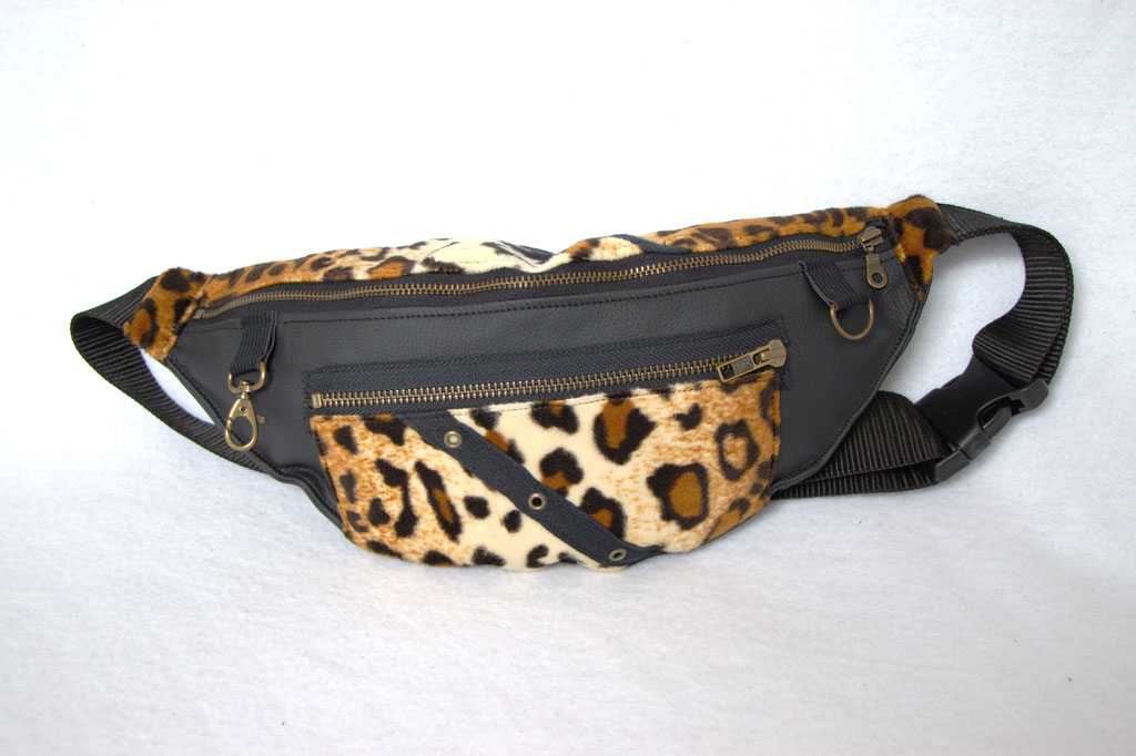 Custom belt bags and summer tops - large leopard + faux leather fanny pack zipper pocket - Zebraspider Eco Anti-Fashion