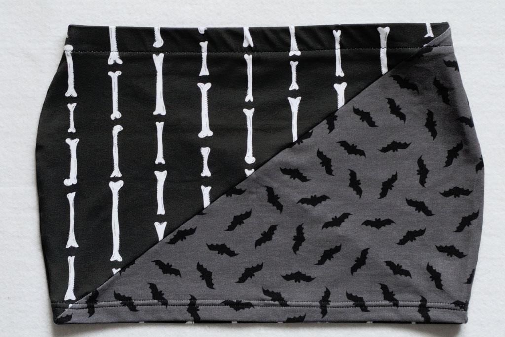 Bats, Bones and Coffins in the shop! - diagonal split goth print mini skirt - Zebraspider Eco Anti-Fashion