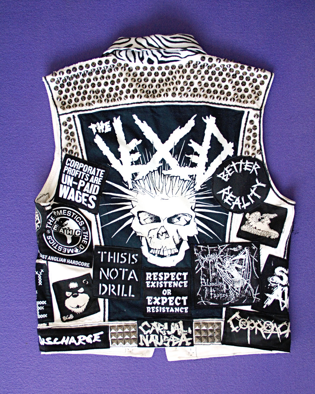 Update on the not-so-white-anymore punk vest - back view after - Zebraspider Eco Anti-Fashion