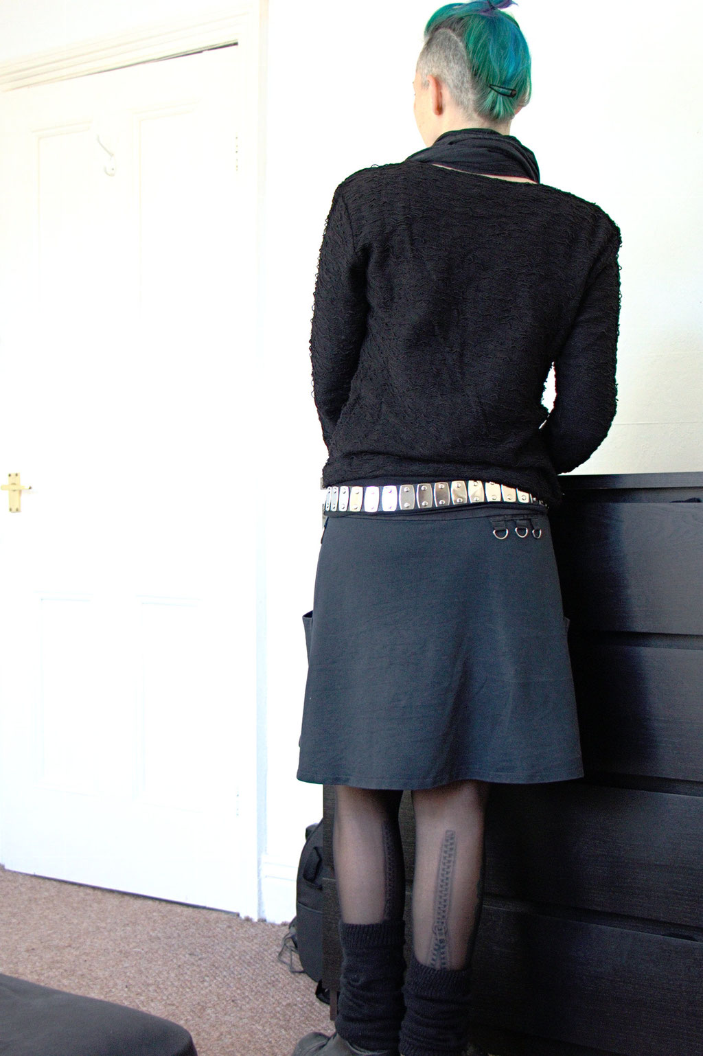 Dark post-apocalyptic outfits I wear to work - black skirt and jumper - Zebraspider Eco Anti-Fashion