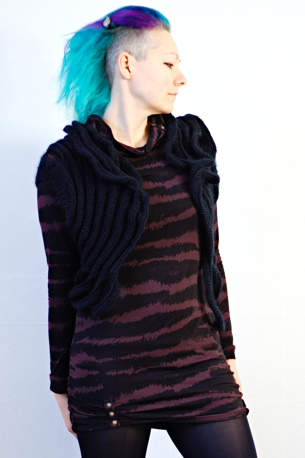 Zombie knitted vest & Crochet crop top of dreams - black knit vest + zebra dress - Zebraspider Eco Anti-Fashion Blog