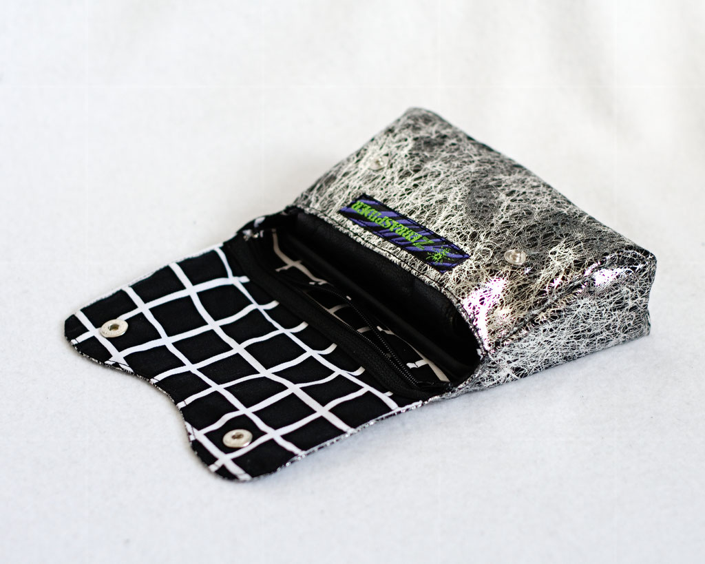 2021 belt bags and new shoulder bags out now! - Liquid Silver & Squares belt pouch - Zebraspider Eco Anti-Fashion