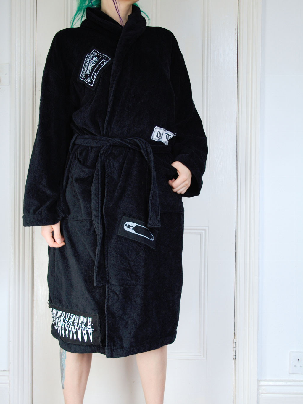 5 Unusual things that look better with patches - crust punk bathrobe front - Zebraspider Eco Anti-Fashion Blog