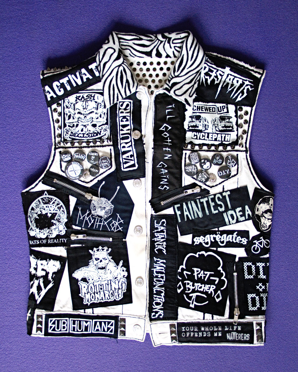 Update on the not-so-white-anymore punk vest - front view after - Zebraspider Eco Anti-Fashion