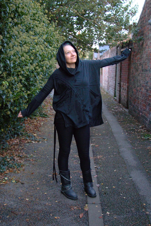 Dark post-apocalyptic outfits I wear to work - happy casual goth - Zebraspider Eco Anti-Fashion