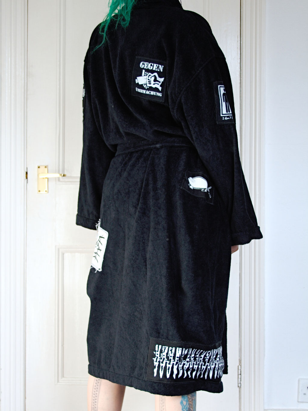 5 Unusual things that look better with patches - crust punk bathrobe back - Zebraspider Eco Anti-Fashion Blog