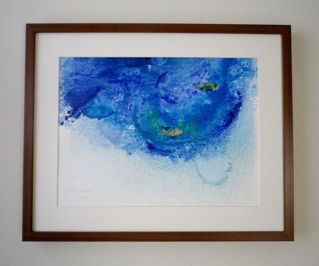 「sea life 2」 油彩、画用紙、パネル、アルミ 430×530mm(額込) 2013