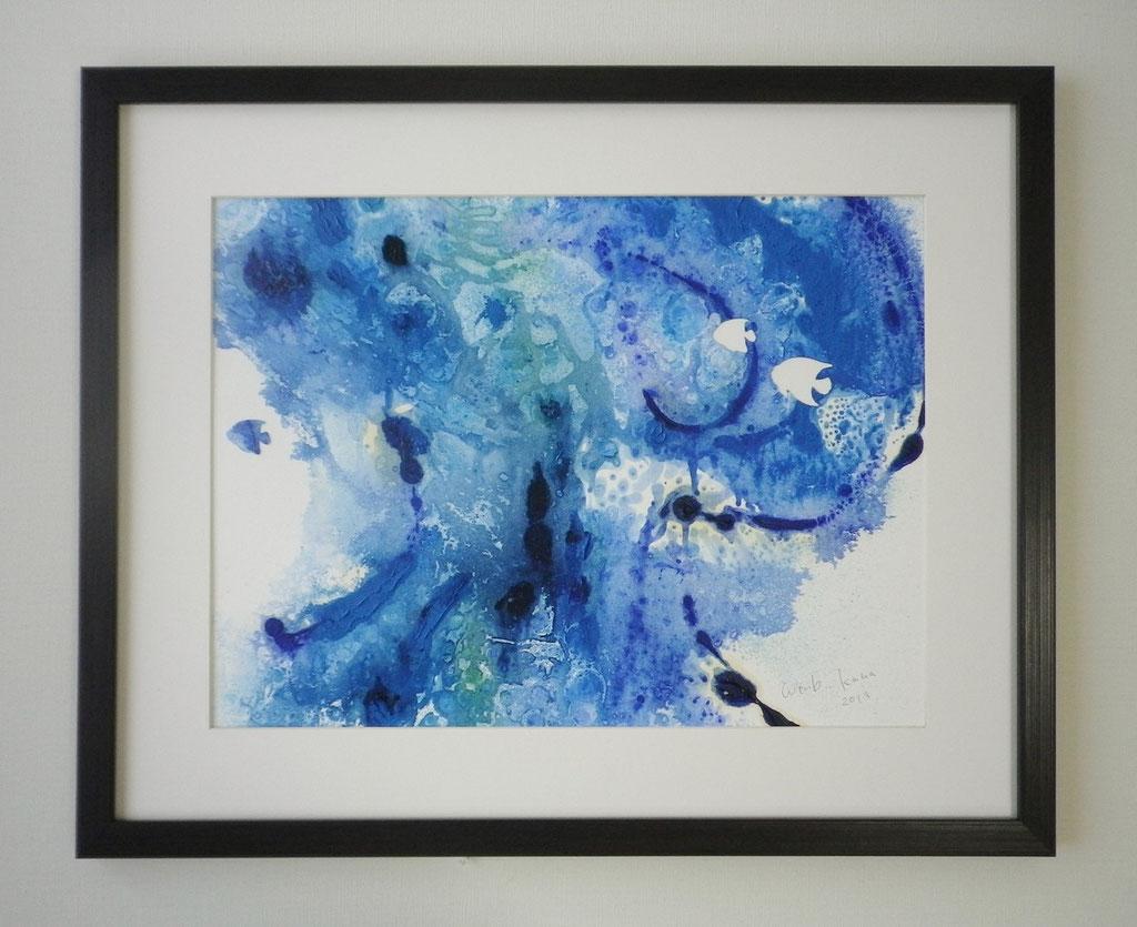 「sea life 1」 油彩、画用紙、パネル 430×530mm(額込) 2013