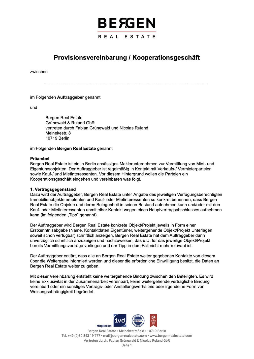 Tippgebervereinbarung Provision Muster