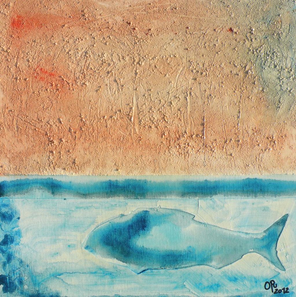Fisch, 40 x 40cm, Mischtechnik auf Karton, 2012