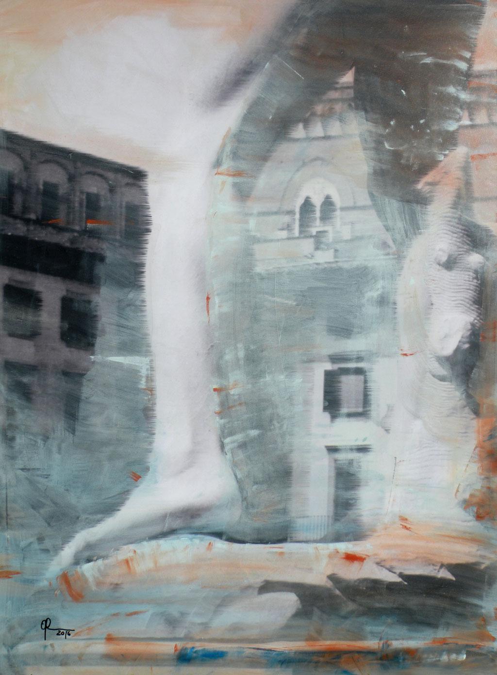 Der Sockel des David, Florenz, 75 x 100 cm, Mischtechnik auf Leinwand, 2016