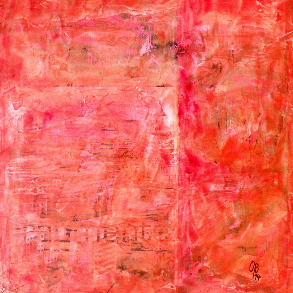Stadt-Fragmente-Stadt, 50 x 50cm, Mischtechnik auf Holz, 2014