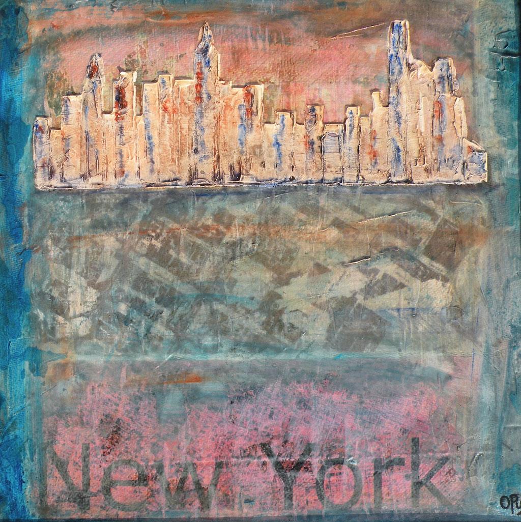 New York, 49 x 49cm, Mischtechnik auf Karton, 2013