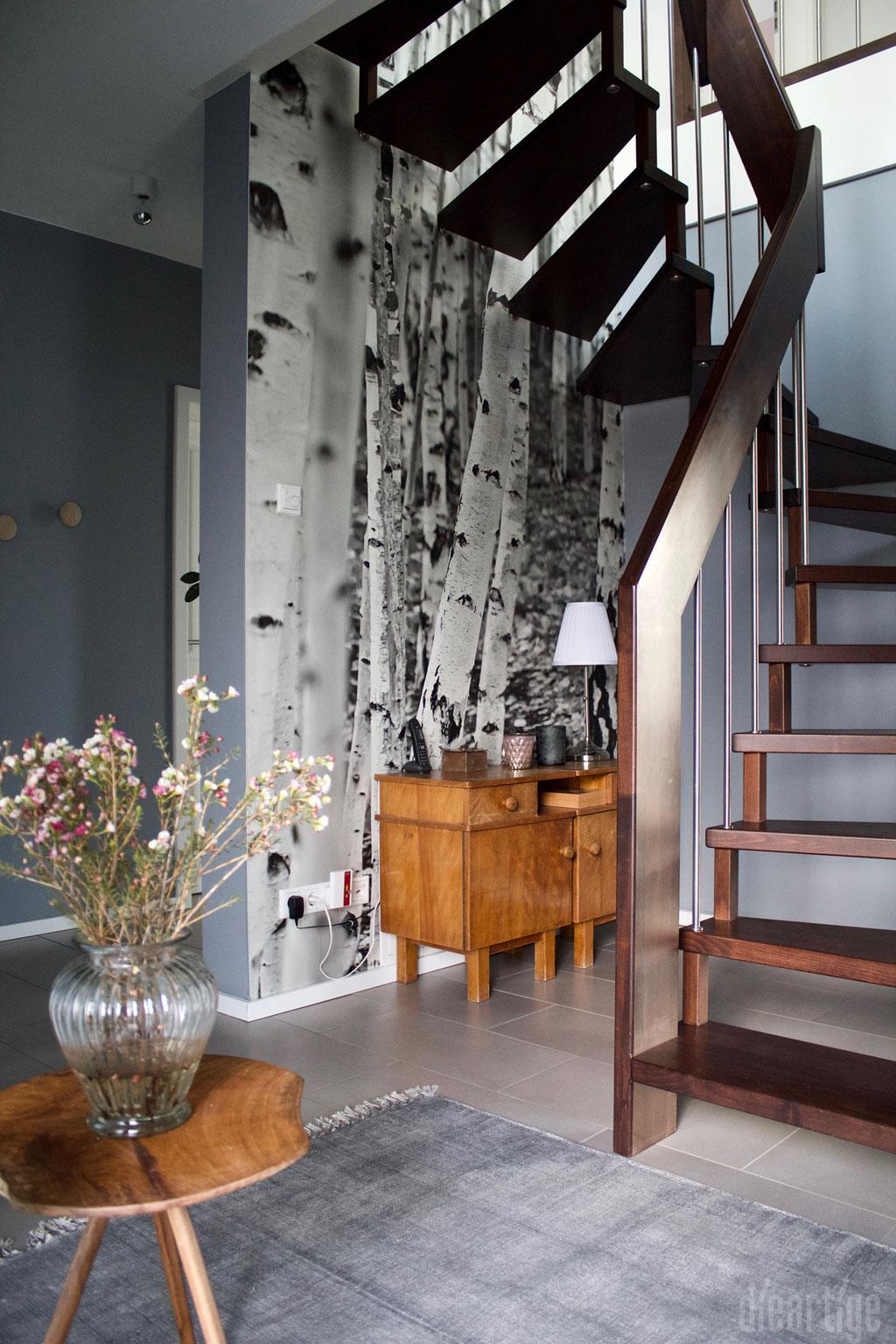 Fam. Z. | Treppe | Fototapete Birkenmotiv | Graue Wand