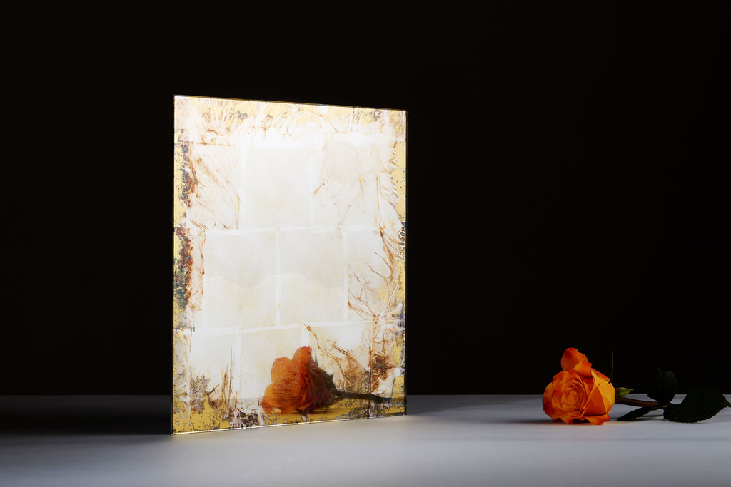 -Denar- Blattsilber farbig oxydiert/ Orange Gold 22,5ct.