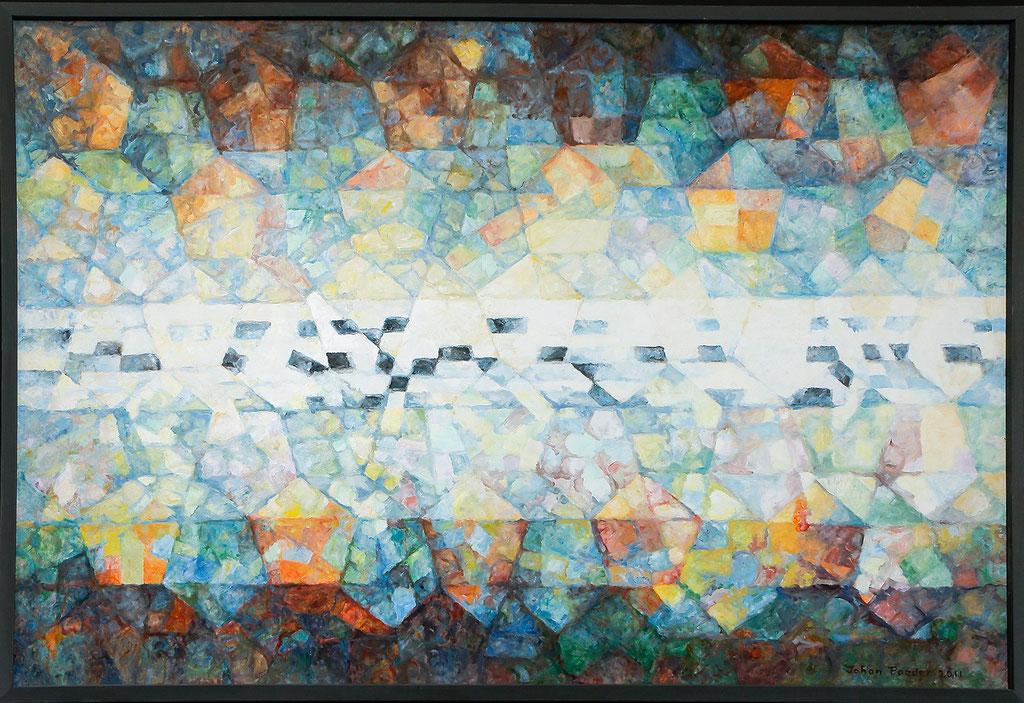 Compositie van Vijfhoeken, olieverf