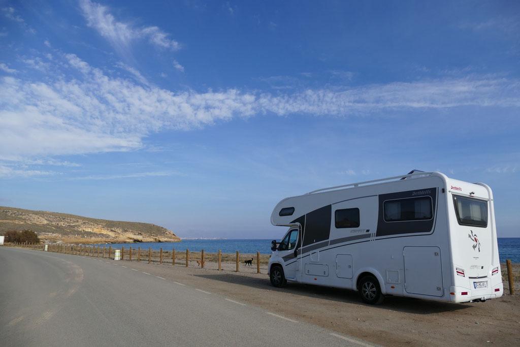 Der Übernachtungsplatz auf der Playa Calnegre
