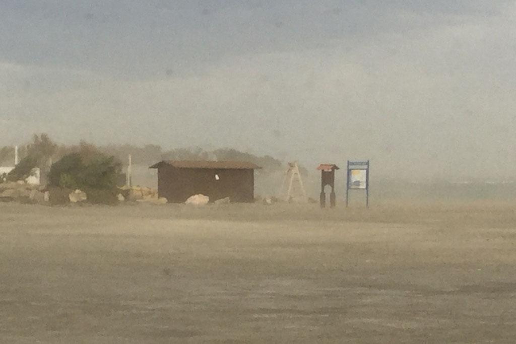 Sandsturm auf unserem Stellplatz in Palomares