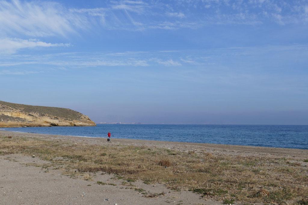 So groß ist der Strand bei unserem Übernachtungsplatz an der Play Calnegre