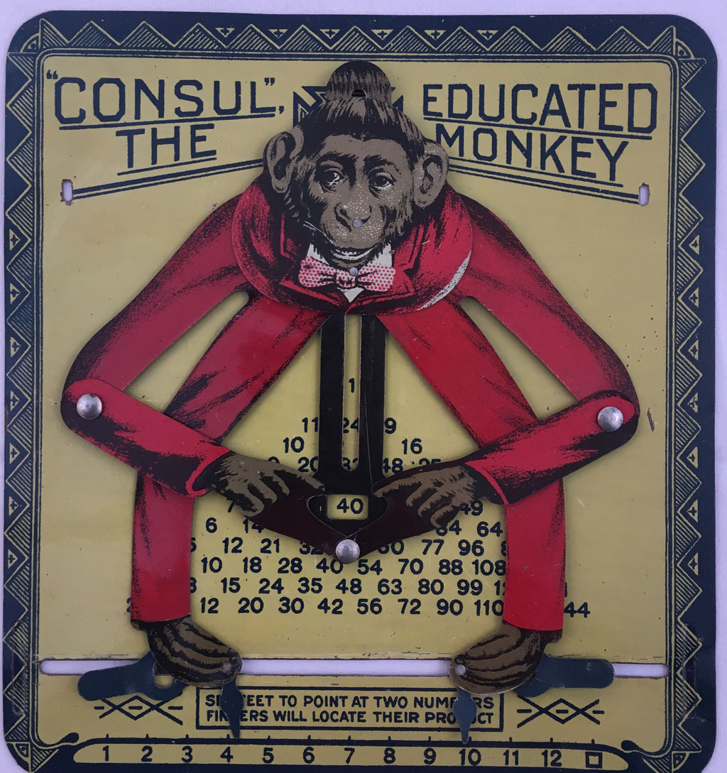 "CONSUL The Educated Monkey, versión 3, fabricado en USA por ""TEP Manufacturing Company Inc., Detroit, Michigan, Factory Dayton, Ohio"", año 1918, 14x15 cm"