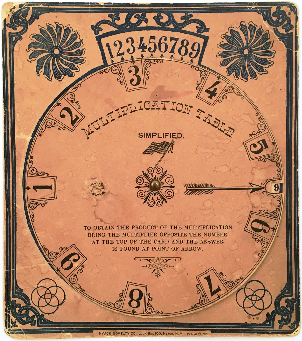 MULTIPLICATION TABLE Simplified, fabricado por Nyack Novelty Co., New York (USA), año 1893, cartón de 21x24 cm con disco de 18 cm diámetro