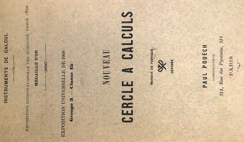 Folleto de instrucciones para el cercle a calculs PAUL POUECH, 16 páginas, 13x21 cm