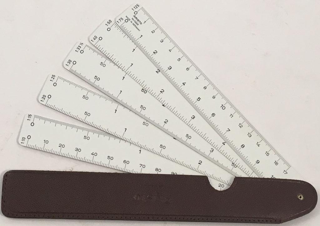 Escalímetro ARISTO Nr 1323 con 5 diferentes escalas , hecho en Alemania, 19x3 cm diámetro