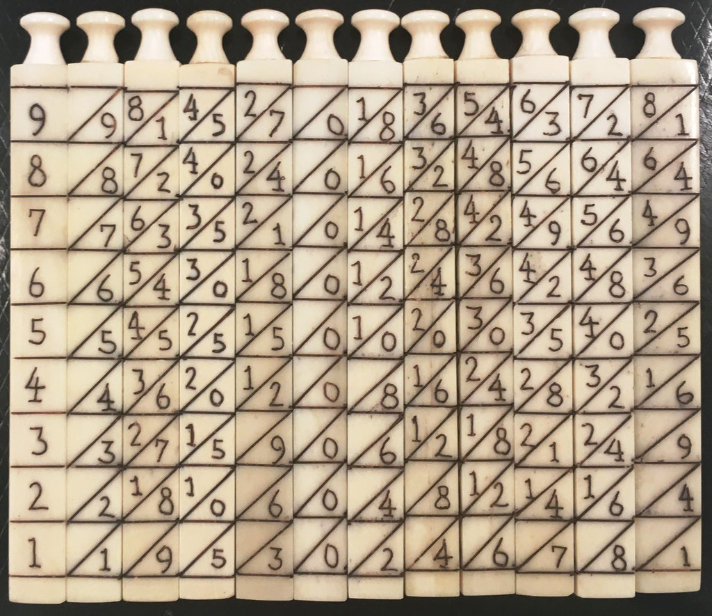 Ábaco multiplicativo de NAPIER, 12 varillas cuadrangulares (11 de 0.6x7 cm y 1 de 0.8x7 cm). Diseño: diagonal principal, descendente hacia abajo