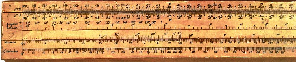 Primitiva Regla Topográfica española marca CONDE con anotaciones mitad izquierda